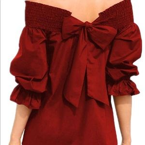 Tops - Red bow off the shoulder blouse